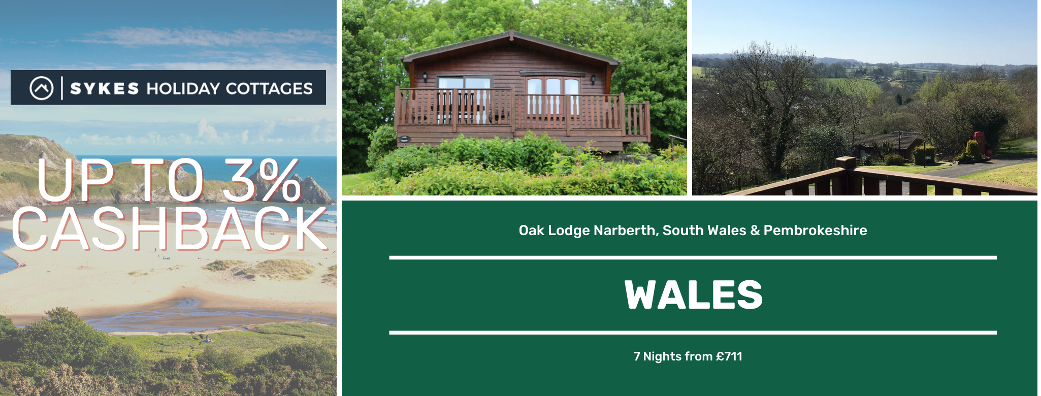 Sykes Holiday Cottages Wales Up to 3% Cashback
