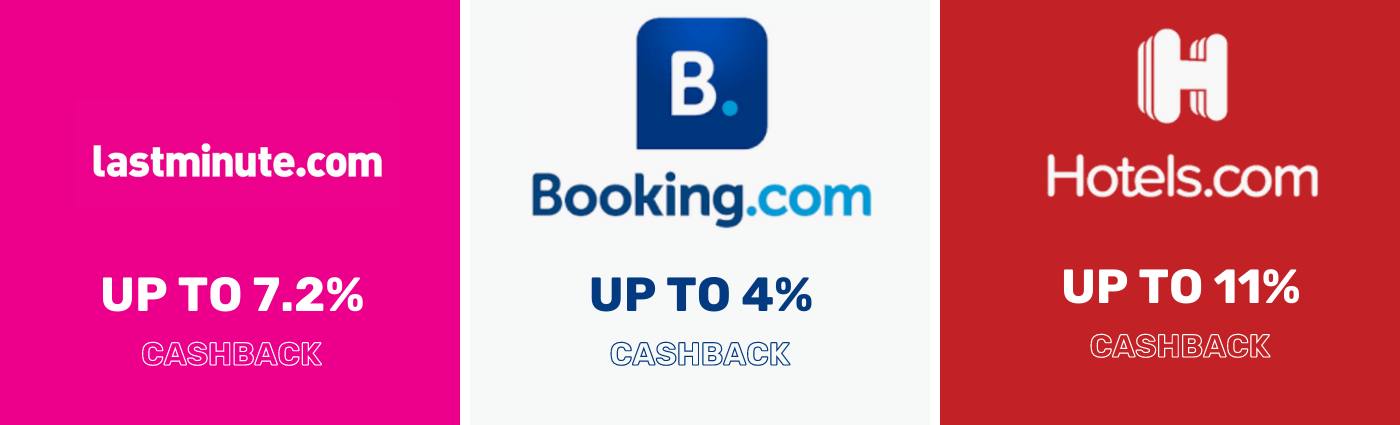Laterooms Up to 7.2% Cashback - Booking.com Up to 10% Cashback - Hotels.com Up to 3% Cashback