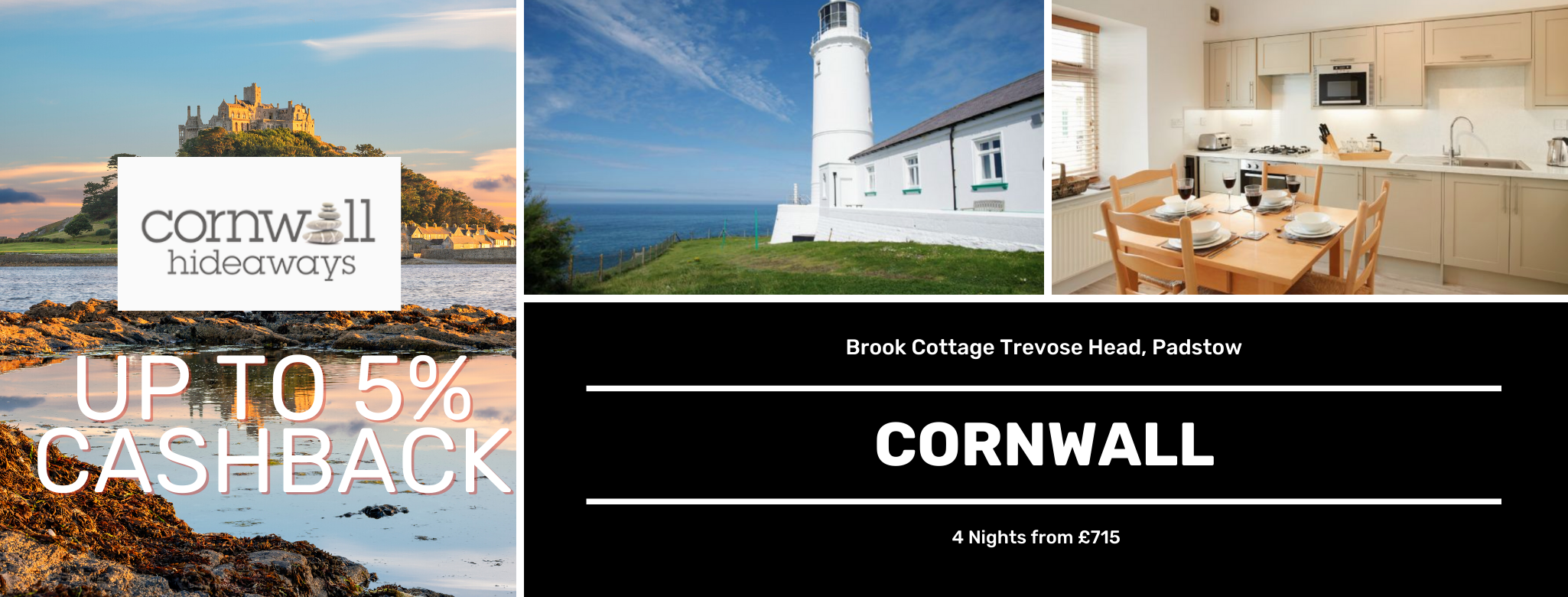 Cornwall Hideaways Cornwall Up to 5% Cashback
