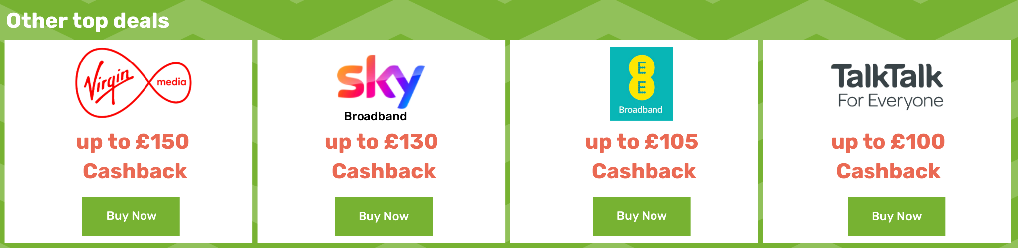 Virgin Media up to £150 cashback - SKY Broadband up to £150 cashback - EE Broadband up to £105 cashback - TalkTalk up to £100 cashback