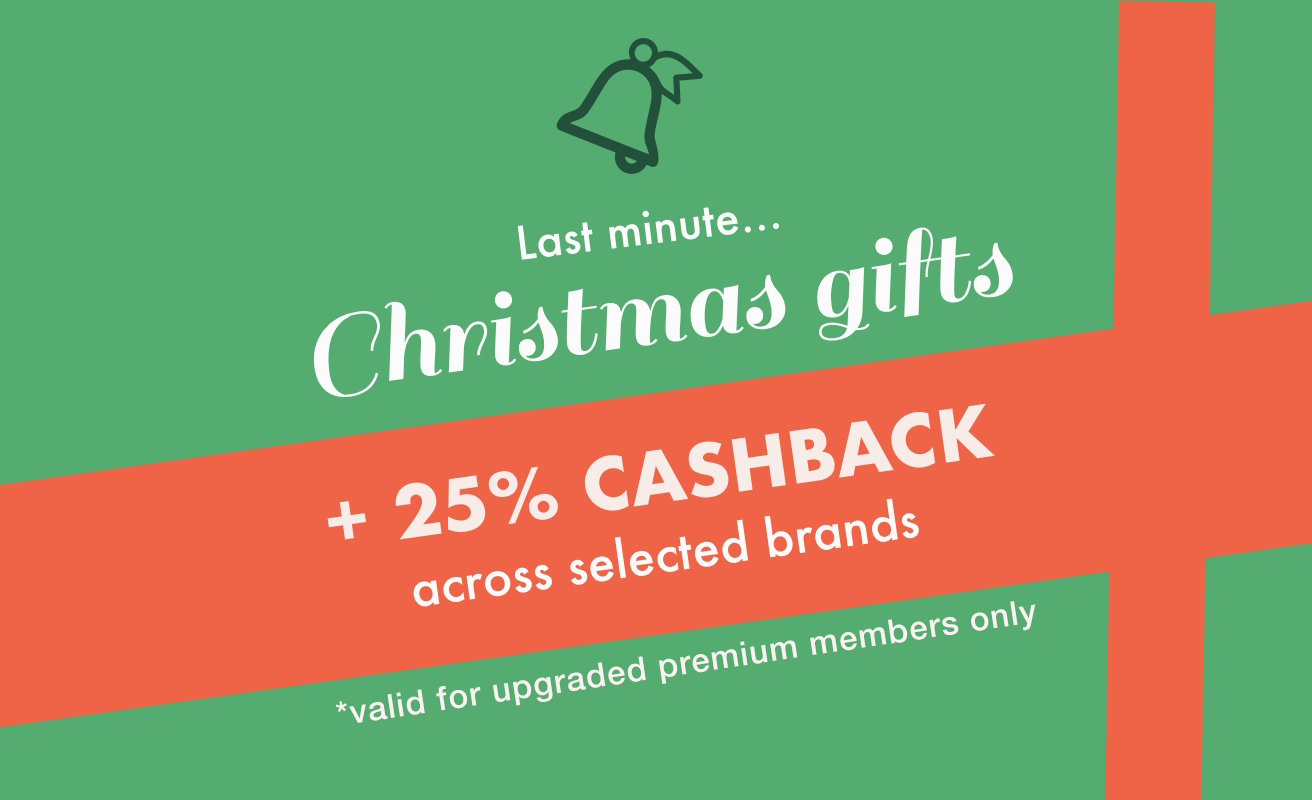25% cashback at five killer Christmas brands, in time for postage