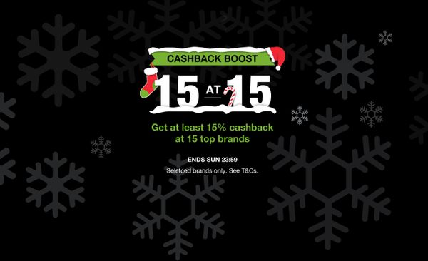 15 brands. 15% cashback. One Christmas weekend.